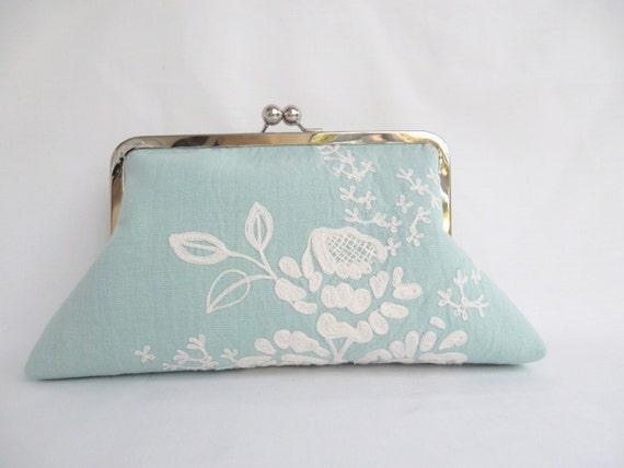 Pochette blanc Turquoise clair