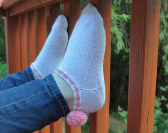 Oh, So Retro Pompom socks, knitting pattern - instant download