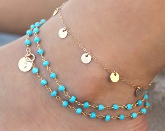 Turquoise bead wrap ANKLET, Layered Boho Chic ankle bracelet Personalized custom stamped initial disc circle, 14kt Gold filled,beach summer