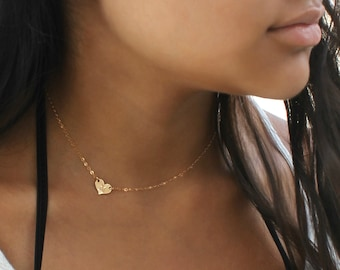14k gold fill heart necklace, off centre personalized Initial Necklace, Monogram, letter, heart tag, custom stamped, customized, love
