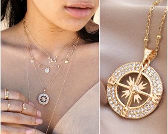c8b0299c65d Compass necklace, cubic zirconia stones, cz diamonds, 14K Gold Filled,  medallion pendant, travel gift, graduation, navigation, Potionumber9