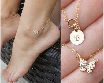 922a9596de3847 Butterfly ANKLET - 14kt Gold filled, cubic zirconia, cz diamond stones,  personalized custom stamped initial disc, ankle bracelet, foot chain
