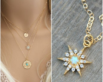 Starburst necklace, Blue Opal, 14k gold filled chain, celestial cubic zirconia North Star pendant, cz diamonds, layering, potionumber9