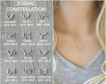 Constellation Necklace, silver zodiac Celestial, Cubic zirconia diamonds, Sterling silver chain, cz dainty personalized,bridesmaids gift