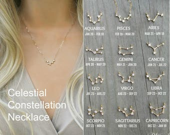 Constellation Necklace,ZODIAC Celestial, Cubic zirconia diamonds, 14k gold filled,cz layering necklace,dainty personalized,bridesmaids gift