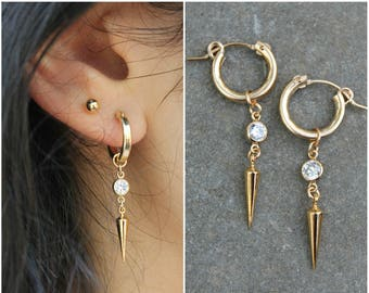 Hoop earrings, 14k gold filled, cubic zirconia and drop pick, combo option with ball post stud earrings, double piercing, two 2