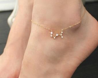 ANKLET, Constellation, Cubic zirconia diamonds, 14k gold filled, cz Celestial Zodiac ankle bracelet chain,personalized initial,bridesmaids