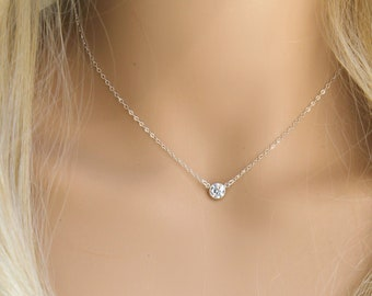 d0d889913 Tiffany style Cubic zirconia solitaire diamond necklace, 925 sterling silver  or 14k gold filled, cz diamond, layering necklace, minimal