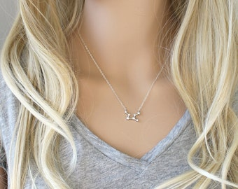 Silver Constellation Necklace, zodiac Celestial, Cubic zirconia diamonds, Sterling silver chain, cz dainty personalized,bridesmaids gift