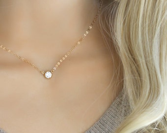 025cd0275 Tiffany style Cubic zirconia solitaire diamond necklace, 14k gold filled, cz  diamond, layering necklace, minimal modern, 925 sterling silver