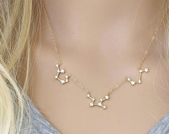 Constellation Necklace, 2 3 4 5 6 pendants, Cubic zirconia diamonds,14k gold filled,celestial cz layering Zodiac,personalized,Christmas gift