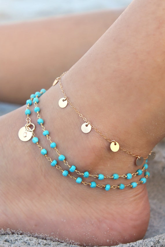 14k Gold filled initial disc custom stamped personalized Turquoise Boho Chic wrap bracelet beaded rosary chain genuine gemstone beads