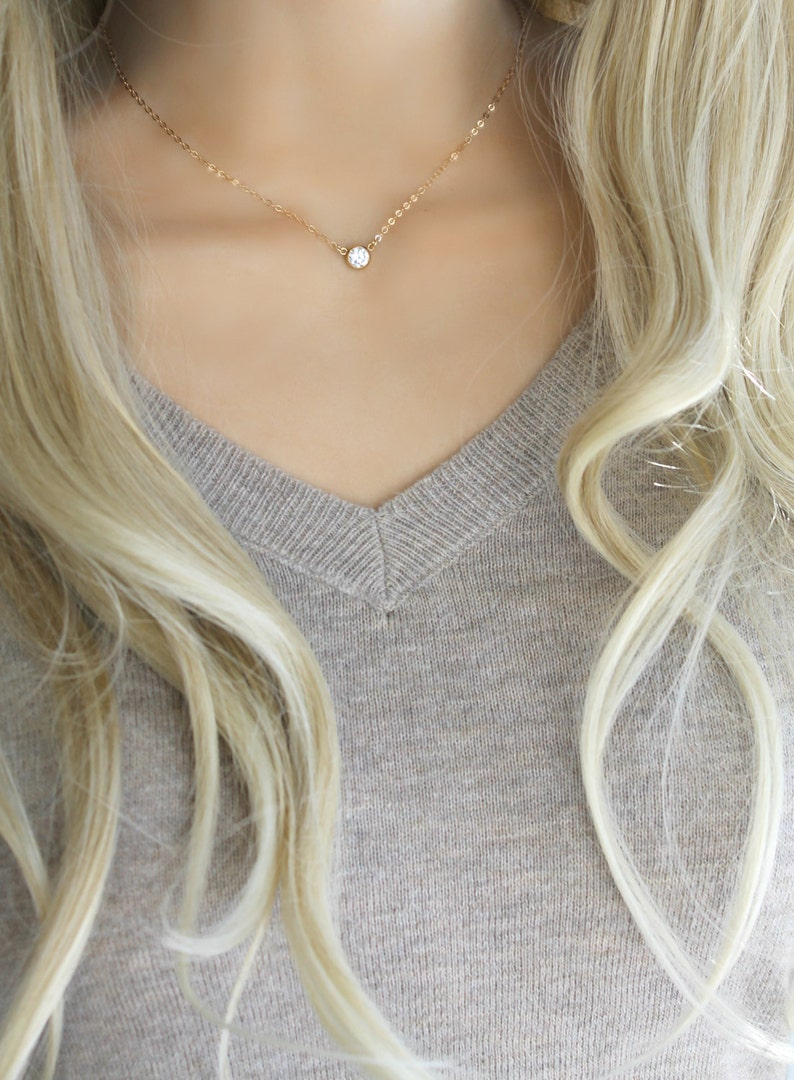 46b063476 Tiffany style Cubic zirconia solitaire diamond necklace 14k | Etsy