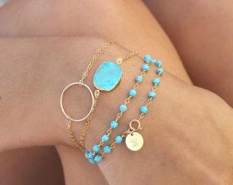 Turquoise slice bracelet, 14k Gold filled double chain bracelet, 24k gold Electroplated Edge Raw gemstone, Christmas gift