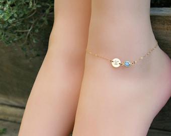 ANKLET personalized ankle bracelet,14k gold filled, custom stamped initial disc & Swarovski Birthstone, beach wedding,Bridesmaids baby child