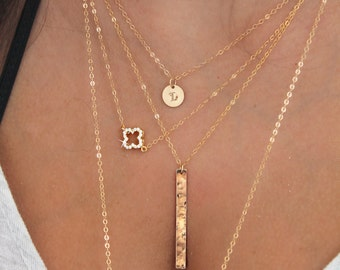 Clover necklace, 14k gold filled, dainty cubic zirconia four leaf clover, gold Shamrock, layering necklace, good luck charm Christmas gift