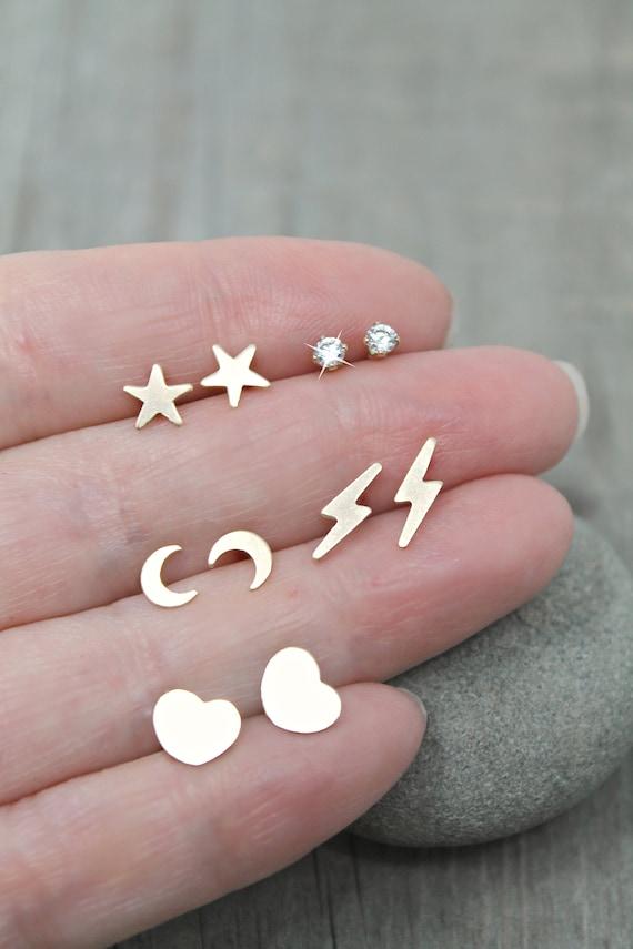 Unisex Studs Celestial Earrings Gift under 50 Gold Lightning Bolt Stud Earrings Minimalist Studs Small Thunderbolts 14k Gold Fill