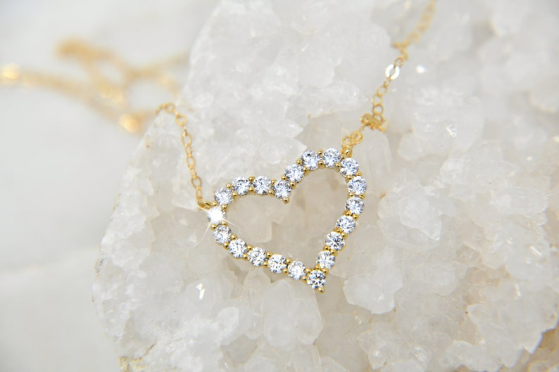 love,Christmas gift 14k gold filled chain Heart necklace cz diamonds heart pendant layering necklace cubic zirconia stones