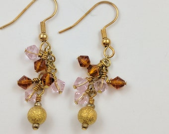 Pink and Gold Cluster Earrings