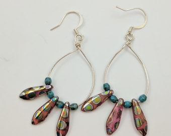 Beaded Silver Loop Earrings with Pink and Silver Polka Dot Pendants