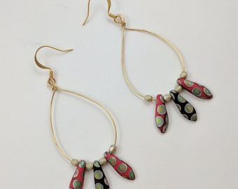 Beaded Gold Loop Earrings with Red and Silver Polka Dot Pendants