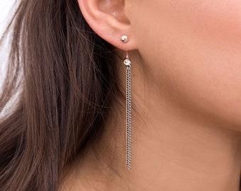 Chain Earrings, Silver Dangle Earrings, Chain Drop Earrings, Black Swarovski Earrings, Unique Earrings, Chain Stud Earrings, Long Earrings