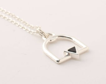 Triangle Necklace, 925 Silver Triangle Necklace, Triangle Pendant Necklace, Boho Layering Necklace, Sterling Silver Jewelry, Women Gifts