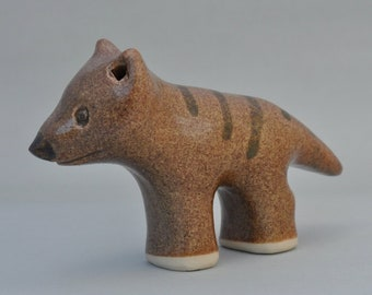 Thylacine animal sculpture; Tasmanian Tiger; ceramics; unusual gift idea; ancient animals; pottery animals; clay sculpture