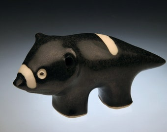 Original Tasmanian Devil Clay Sculpture; Australian animal; Tasmanian animal; unique ceramic animal.