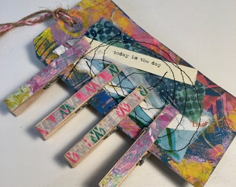 Altered Clothespins-Junk Jewelry-Handmade Journal Clips Magnetic Clips Memo Clips-4 Decorative Clothespins attached to a Fun Tag