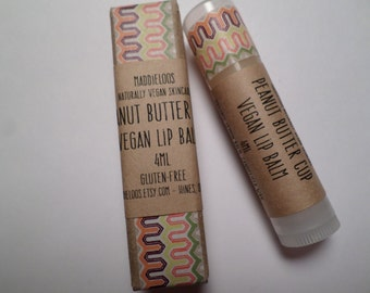 VEGAN-Peanut Butter Cup Vegan Lip Balm-Sheer with lemon balm for cold sores/chapped lips(4ml)