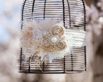 Vintage Ivory Cream and Champagne Tan Handrolled Rosette Headband with LACE, Curly ostrich feathers, veiling, pearls and crystal detail