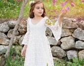 First Communion Dress, Flower Girl Off White Lace Dress, Boho-chic Girls Dress, Lace dress for girls, Boho flower girl dress, Boho Wedding