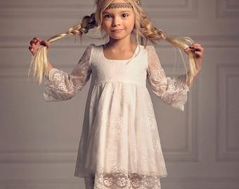 Girls Christmas Dress, First Communion Dress, Flower Girl Off-White Lace Dress, boho flower girl, girl toddler Lace dress, Bohemian Wedding