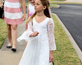 First Communion Dress, Flower Girl White Lace Dress, Boho-chic Girls Dress, Lace dress for girls, Boho flower girl dress, Boho Wedding
