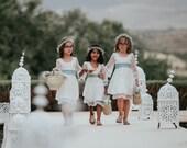 Boho Flower Girl White Lace Dress girl toddler Lace dress Bohemian Wedding