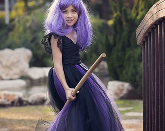 Black And Purple Witch Costume Tutu Dress Set, Wicked, Halloween, Girl Witch Tutu Costume, Girl Halloween Costume Sweet Witch Tutu