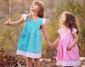Girl Pink and Blue Gingham Plaid Birthday Dress