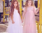 Dusty Rose Flower Girl Dress Tulle and Lace dress