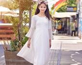 Boho Junior Bridesmaid Lace Dress Flower Girls Dress