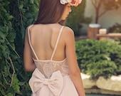 Blush Lace Flower Girl Dress, Junior Bridesmaid Dress, Special Occasion Dress, Wedding Dress, Blush Lace Dress, boho flower girl dress