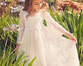 First Communion Dress, Flower Girl White Lace Dress, Boho-chic Girls Dress, Lace dress girls, Boho flower girl dress, Bohemian Wedding