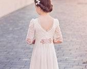 Boho first communion dress off white color