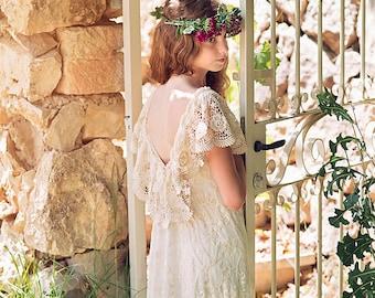 Boho Girls Dress/Ivory Lace Junior Bridesmaid Dress/Flower Girl Ivory Lace Dress/Boho flower girl dress,Bohemian Wedding/Communion dress