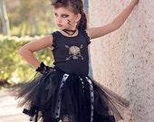 Rock n Roll Ballerina, Rock Star Tutu Dress, HALLOWEEN Punk Rock Princess,Glam Rock Girl tutu Costume,Rockstar Birthday Tutu, Rocker Tutu