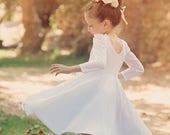 White Twirly Long Sleeves  Girls Birthday Dress
