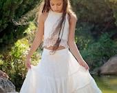 Ivory Boho-chic Flower Girl Dress, Junior Bridesmaid Dress, Ivory Boho skirt and top set, Boho flower girl dress, Bohemian Wedding