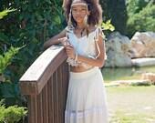 White Boho Flower Girl Dress Junior Bridesmaid set