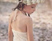 Boho Crochet Lace Flower Girl Dress, Junior Bridesmaid Dress, Rustic Flower Girl Dress, Flower girl, boho flower girl dress, Hippie wedding