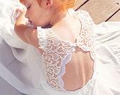 Boho Ivory Lace Flower Girl Dress